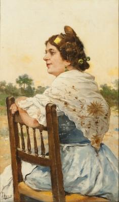 """""""Valenciana"""".  Joaquín Agrasot i Juan, (Orihuela, Alicante, 1837 – Valencia, 1919)."""