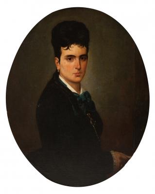 "ANTONIO CORTINA FARINÓS (Almácera, Valencia, 1841- Madrid, 1890).""Retrato de dama""."