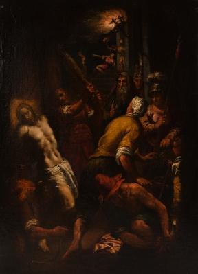"""""""Flagelación de Cristo"""". Anónimo. Seguidor de Antonio di Jacopo Negretti, Palma el Joven, (Venecia, h. 1548-1628)."""