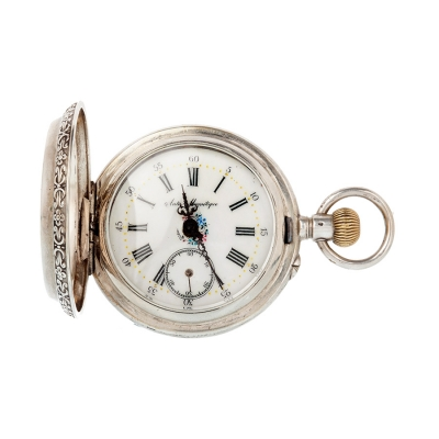 Reloj de bolsillo de plata con tres tapas