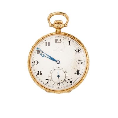 Reloj de bolsillo en oro de 18 Kts con tapa. Siglo XIX