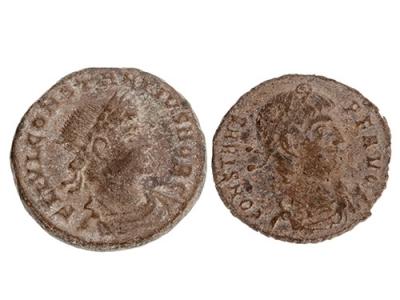 Lote 2 monedas de Constancio II y de Constante I