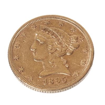 """5 Dólares año 1895, con leyenda en reverso """"In God We Trust"""""""