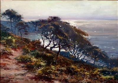 """""""Amanecer en la Costa Brava"""". Elías Garralda Alzugaray, (Lesaka, Navarra, 1926)."""