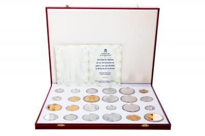 Conjunto 24 réplicas de monedas de la Hª de la peseta.