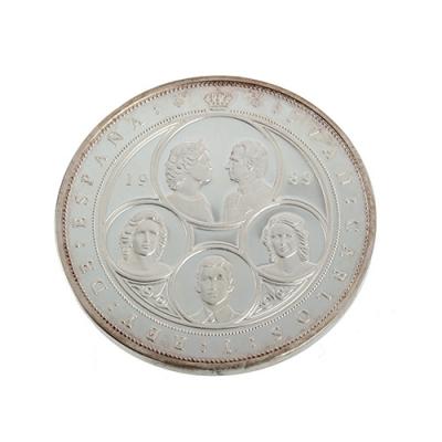 Cinquetín de plata de 10.000 pesetas, acuñada en 1989.