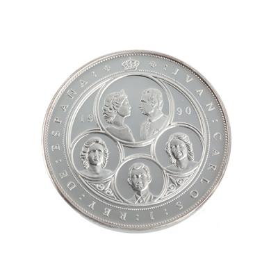 Cinquetín de plata de 10.000 pesetas, acuñada en 1990.