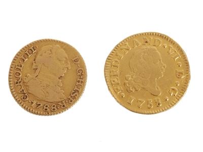 Lote de 2 monedas de 1/2 escudo de Oro.