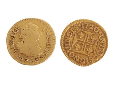 1/2 escudo en oro de Carlos III - SC- Acuñación, 1788.