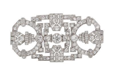 Broche Art Decó realizado en platino.
