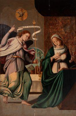 """Escuela castellana de la segunda mitad del siglo XVI.""""La Anunciación""""."""