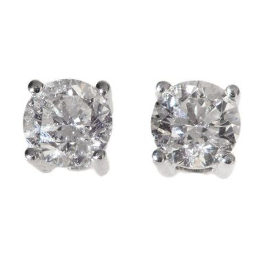 Pair of dove earrings in 18 kt white gold, each with a cut diamondbrilliant set in four claws ac. 0.