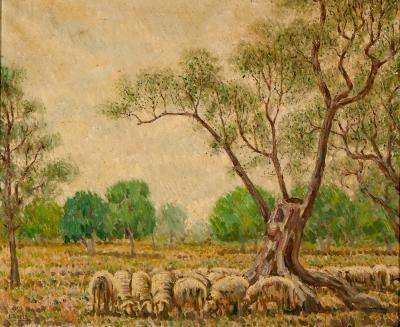 """TUDELA PERALES, Joaquín (Játiva, Valencia, 1892 – Valencia, 1970).""""Sin título""""."""