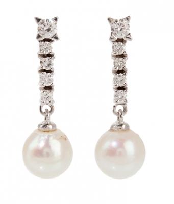 Par pendientes oro blanco brillantes y perlas