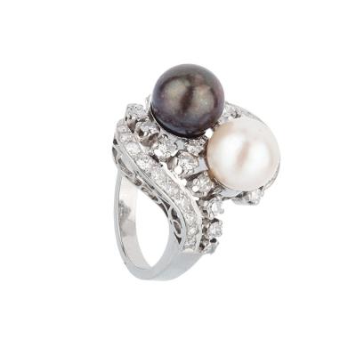 Sortija oro blanco perlas y brillantes