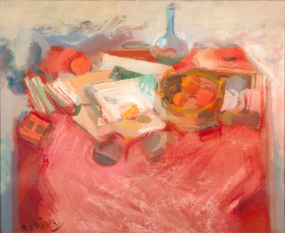 """""""Bodegón de frutas""""., MONTAÑANA ALBA, Federico (Valencia, 1928 - 2006)."""