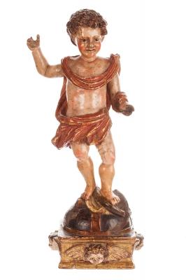 """Niño Jesús"", Talla Española siglo XVII-XVIII."