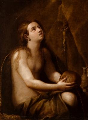 """""""Magdalena penitente"""" Escuela italiana del siglo XVII."""