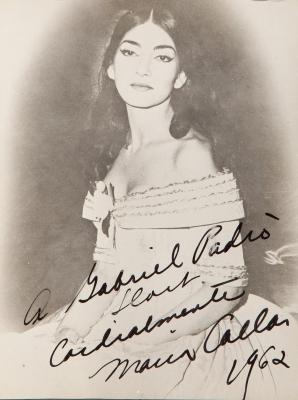 Fotografía dedicada de María Callas, 1962