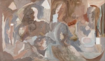 """Francisco Bores López, (Madrid, 1898 – París, 1972).""""Tres hombres y una mujer comiendo""""."""