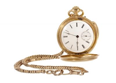 Reloj de bolsillo con leontina. Principios siglo XX.