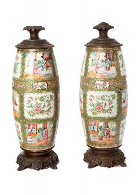 Quinqués de porcelana Familia Rosa de Cantón