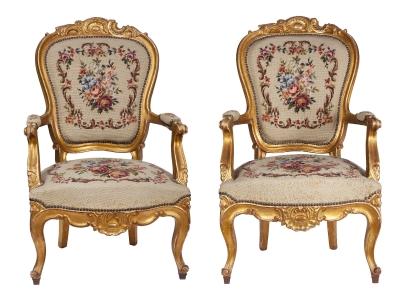 Pareja de sillones estilo Luis XV con tapicería de