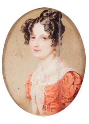 "Escuela europea del siglo XIX.""Retrato de dama""."