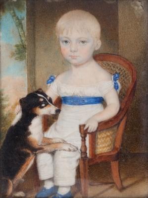 Retrato de niño con perro., Walter Stephens LETHBRIDGE