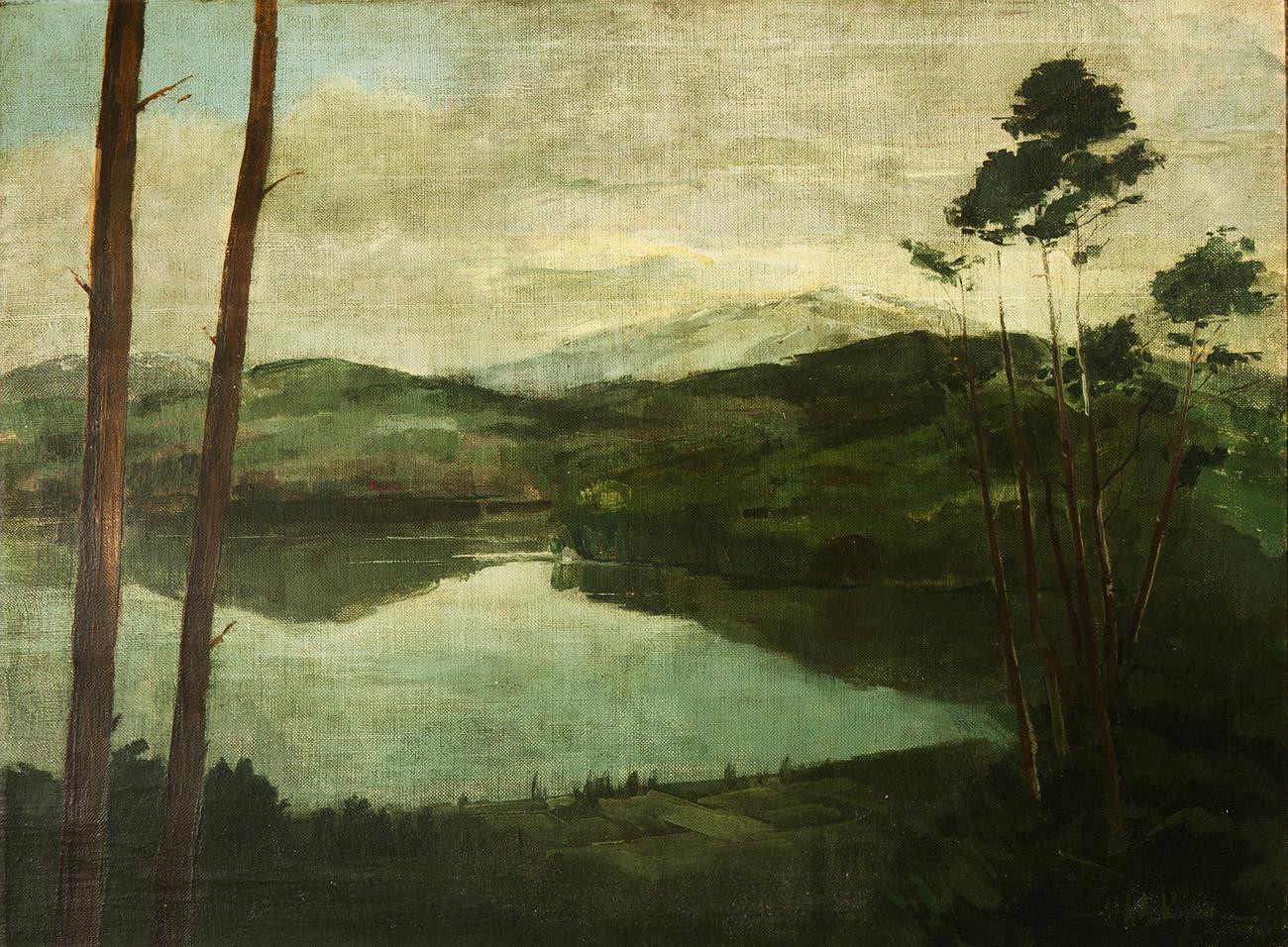 "Escuela europea del siglo XIX. ""Paisaje"". Óleo sobre lienzo. Fechado ..."