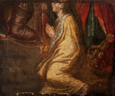 """Fragmento mural del siglo XVII.""""Santo en posición orante""""."""