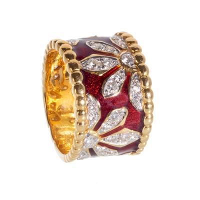 Sortija de oro amarillo de 18kts, con esmalte a fuego y diamantes.