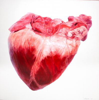 "LU ZHENGYUAN (Dalian, China, 1982) ""Heart, 2008Oil on canvasSigned in the lowest right angleMedidas: 200 x 200 cm.."