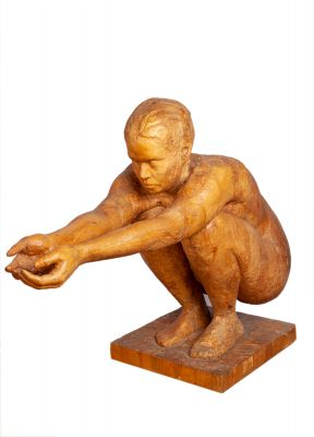 ANA GALLINAL (Madrid, 1976).Naked sculpture requesting alms, 1988Solid woodMeasures: 114 x 90 x 46 cm.