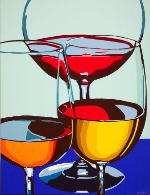 """MARIA GARCÍA DE LA RIVA (Valencia, 1970) """"Wine cups still life"""", 2004Acrylic on canvasSigned as """"M. de la Riva"""" and dated in the lowest right angleMeasures: 135 x 104 cm."""