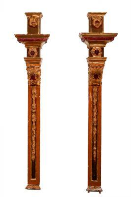 Par de fragmentos de altar barroco. S. XVIII
