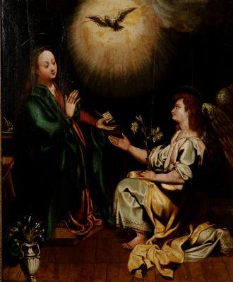 """Escuela española.""""Anunciación"""", siglos XVII-XVIII."""