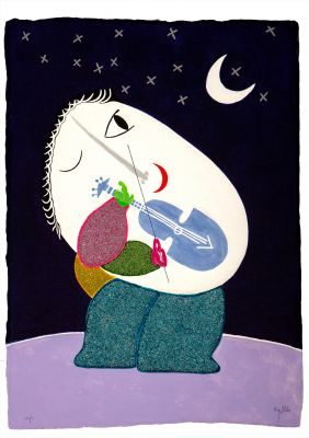 "JOAN RIPOLLÉS, (Castellón, 1932).""Músico en la noche""."