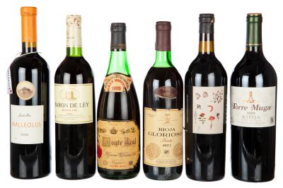 Lot of six wines, among which there are Malleolus of 2004, one Barón de Ley, reserve of 1996, one Monte Real Great Reserve of 1970, one Rioja Glorioso of 1973, one Barceló of 2000 and one Torre Muga of 1998. Category: Red wine, Rioja and Ribera del Duero Origin denomination.