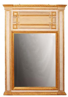 Espejo tipo trumeau, s. XIXRealizado en madera lacada y dorada con pan de oro.