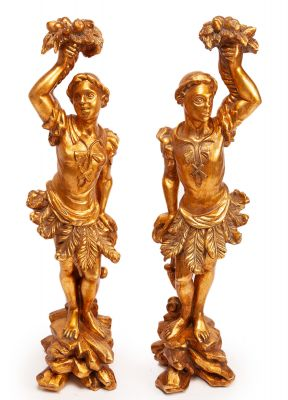 Pareja de esculturas decorativas, s. XX.