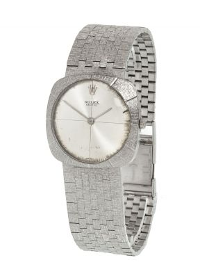 Rolex gentleman watch made of 18 kts White goldWeight: 63,80 grs, without machineMeasures: 30 x 30 mm (box); 20 cm (belt length)..