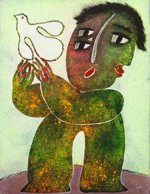 """JOAN GARCIA RIPOLLÉS (Castellón, 1932)""""Sin Título""""Óleo sobre lienzo.Firmada en el ángulo inferior derecho."""