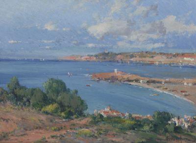 """ELISEO MEIFRÈN ROIG (Barcelona, 1859-1940)""""Vista de Mallorca"""" Óleo sobre cartón.Firmado en el ángulo inferior izquierdo."""