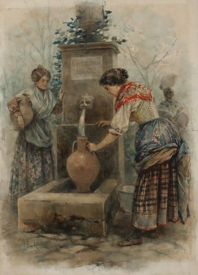 "GABRIEL PUIG RODA (Tírig, 1865-Vinaròs, 1919).""Fountain in the forest"", 1912."