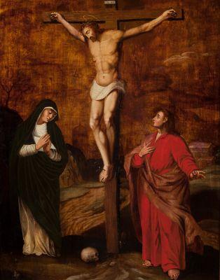 """ANÓNIMO S.XVII""""Crucifixion""""Oil on tableMeasures: 66 x 51 cm; 83 x 68 cm (frame."""