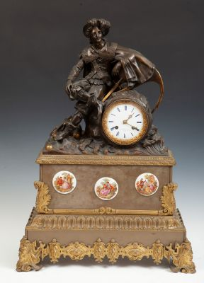 HOFFMAN FRES TABLE CLOCK, FRANCE S.XIXRue des enfans rouges 4 to Paris.