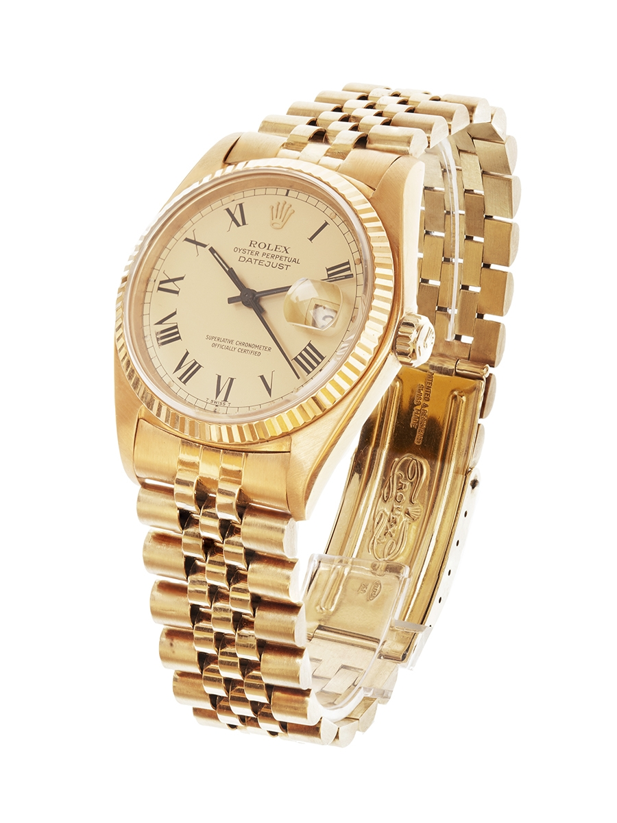 Reloj ROLEX Oyster Perpetual Datejust, Ref:16018 para caballero.En oro amarillo de 18 kts.