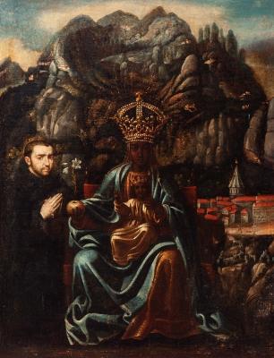 """""""Virgen de Montserrat"""" Escuela española del siglo XVII."""