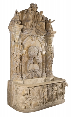 Monumental fuente de estilo romano, siglo XX. Mármol travertino